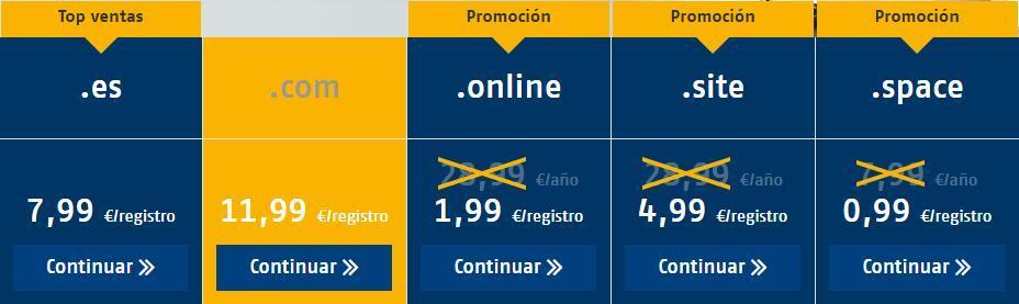 Registros de dominios web: Ofertas