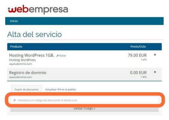 Comprar Hosting y Registrar Dominio con el Cupón de Webempresa