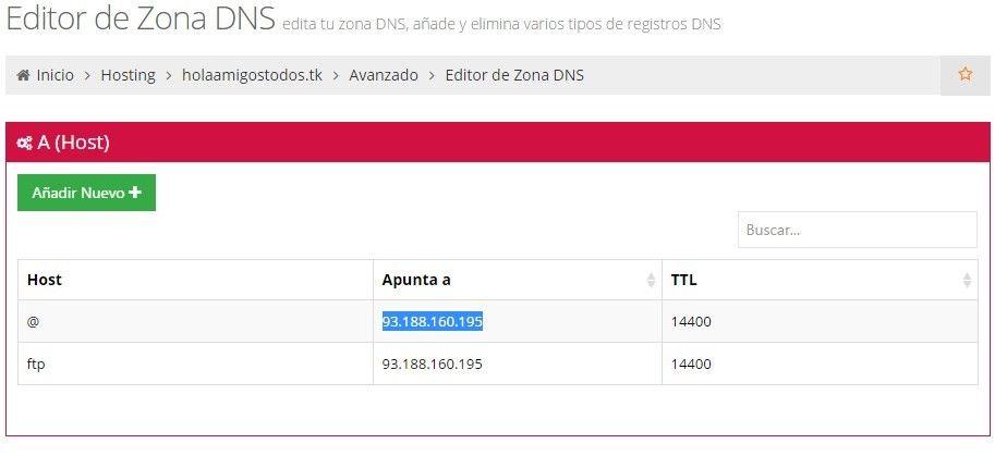 La edición del dominio gratis - hosting y dominio gratis