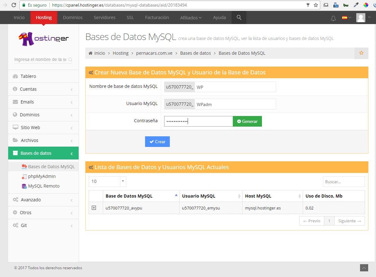 base de datos wordpress