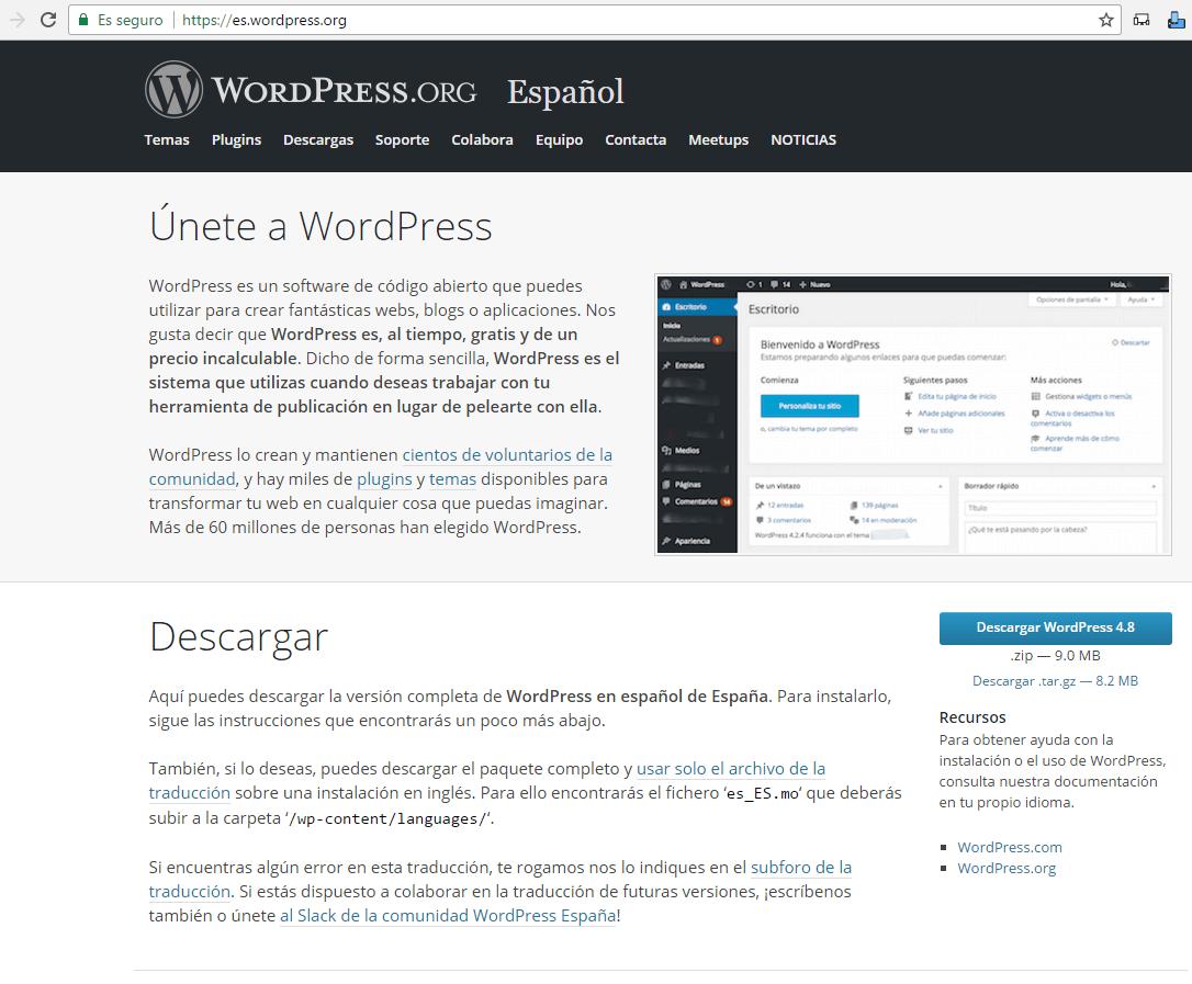 descargar wordpress en español