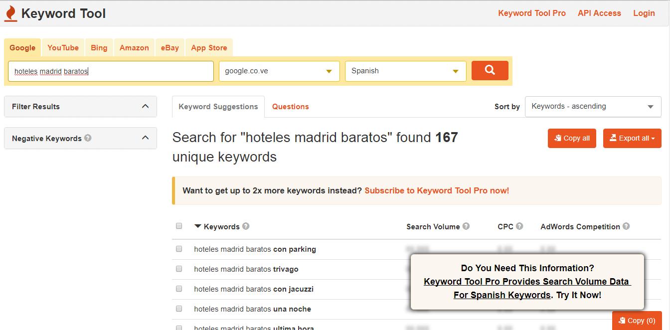 buscar palabras clave - buscar herramientas - herramientas palabras clave